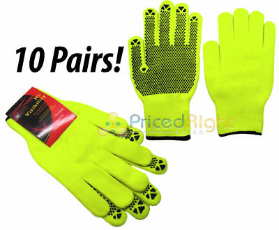 Neon Safety Work Gloves 10 Pk Rubber Palm Grip Construction Road High Visibility