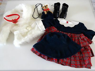 """NEW-Doll Dress/Boots/Purse/Coat Set[Lot #86] fits 18"""" Doll such as American Girl"""