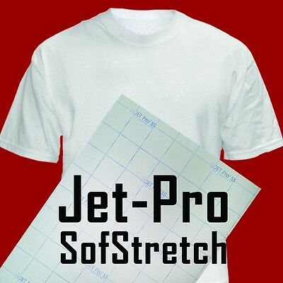 "INKJET TRANSFER FOR WHITE FABRIC: IRON-ON ""JET PRO SOFT STRETCH"" (8.5""x11"") 50CT"