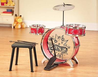 Child Size Drums Kids Toy Band w/ Stool Drumsticks Cymbal 8-PC Gift Set Ages 3+
