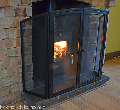 "Gateway Fire Guard I Screen in Black I 3 Fold with Doors H-76cm (30"")"