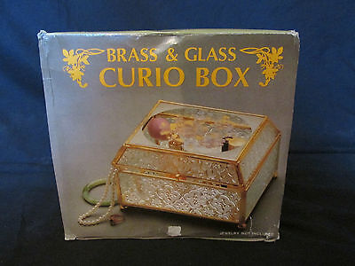 Brand New in Box (Vintage) Brass & Glass Curio Box Mirrored (Jewelry/Trinket)