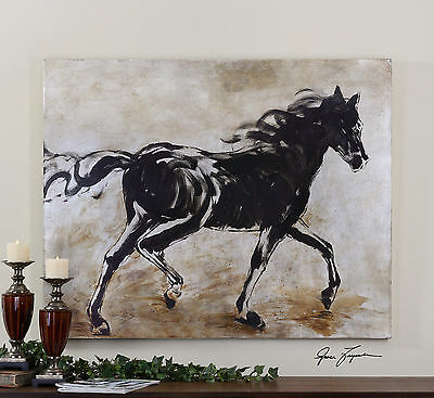 "50"" Frameless Hand Painted Oil On Canvas Running Horse Painting Artwork Wall Art"