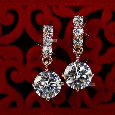 18k rose gold gp made with SWAROVSKI crystal stud earrings dangle