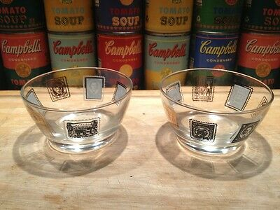 Pair of retro 1950s 60s Libbey black, white & gold postage stamp motif bowls