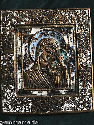 Russian orthodox enameled bronze Icon of Madonna Mother & Child