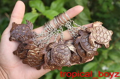 10 Sea Turtle Coconut Shell Wood Wooden Key Chains Rings Keychains Wholesale Lot