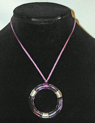 RARE DAUM NECKLACE Signed - Amethyst Crystal DORA Circle Pendant 925 Silver