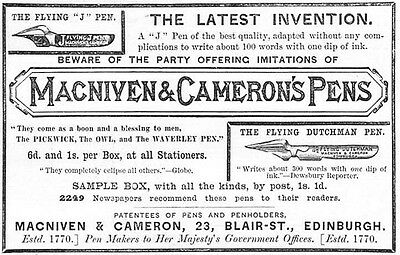 MacNIVEN and CAMERON'S PENS The Latest Invention - Victorian Antique Advert 1887