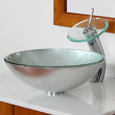 Bathroom Glass Vessel Sink With Silver Pattern & Chrome Waterfall Faucet Combo