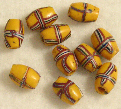10 Old Venetian Wound Yellow FRENCH CROSS Trade Beads