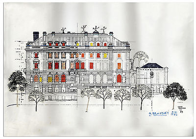 Ray Bradbury Owned & Signed Hand-Colored Mansion Print
