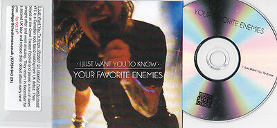 YOUR FAVORITE ENEMIES I JUST WANT YOU TO KNOW RARE 1 TRACK UK PROMO CD