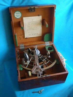 Vintage Maritime 1964 Japan TAMAYA Brass Tag Nautical Navigation Sextant In Box