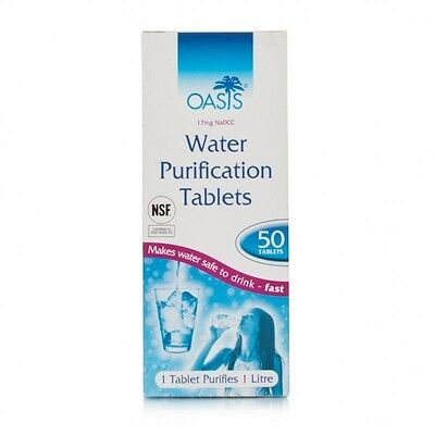 OASIS WATER PURIFICATION TABLETS x 50. PURIFYING TABLETS FOR TRAVEL MILITARY USE