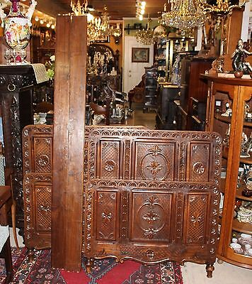 Beautiful Pair Of French Antique Carved Oak Twin Size Beds