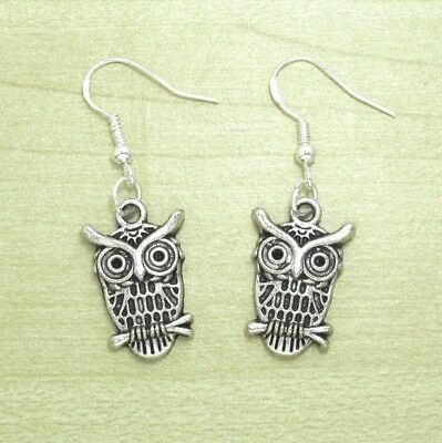 925 Sterling Silver Hooks Vintage Silver Alloy Dangling Wizard Of Owl Earrings