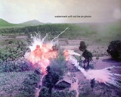"Napalm bombs explode on Viet Cong structures 8""x 10"" Vietnam War Photo 60"
