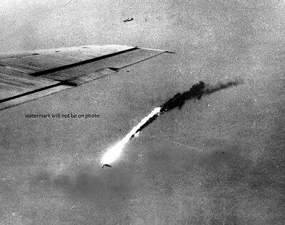 """B-29 falls in flames hit by Japanese flak 8""""x 10"""" World War II Photo Picture 230"""