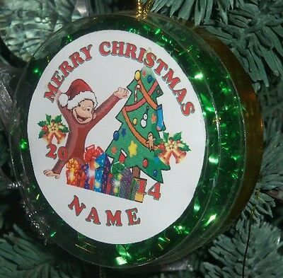 Personalized Curious George Christmas Ornament Custom any name Birthday #54