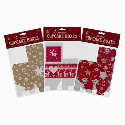 Christmas Cupcake Boxes Small Cake Cup Window Box Gift Mince Pies Cakes Xmas New