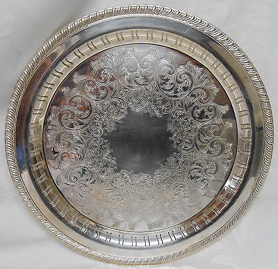 "WM ROGERS 12-1/2"" SILVER PLATED ROUND TRAY WITH CUT OUT PATTERN"