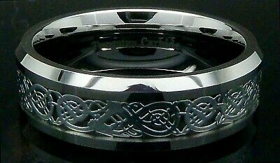 Mens Tungsten Carbide Ring Silver Celtic Dragon Wedding Engagement Band
