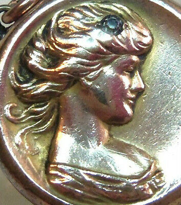 ANTIQUE VICTORIAN  Art Nouveau LADY GIRL GOLD FILLED CAMEO LOCKET FOB  PENDANT
