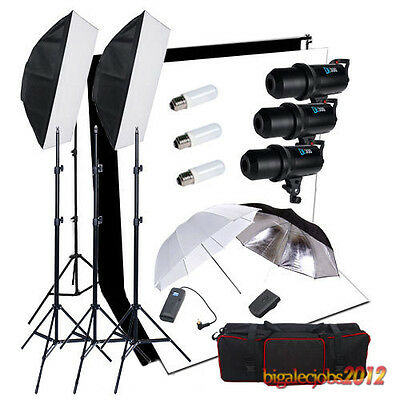 3x300W LED PANTALLA STUDIO FLASH KIT SET Iluminación Fondo Negro Blanco Soporte