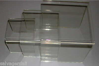 "Acrylic Plexi Lucite  3"" 4"" 5"" Square U Nest Risers Lot of 24 Sets 72 Total  New"