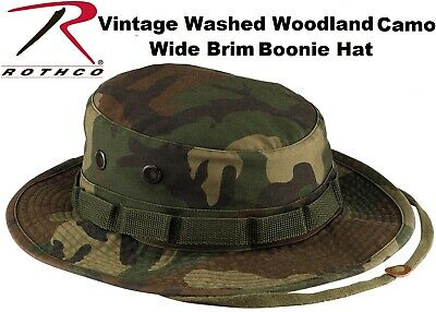 cd881aabfd9bab Washed Vintage Woodland Camouflage Military Wide Brim Boonie Hat 5900 Rothco