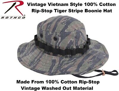 635462b8d6a Tiger Stripe Washed Vintage Military Vietnam Tactical Rip-Stop Boonie Hat  5915