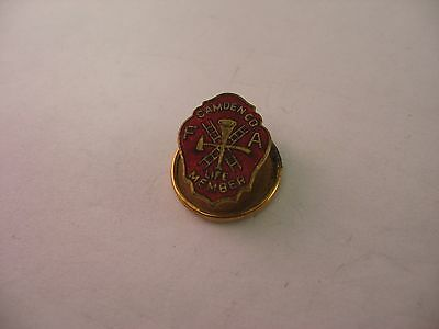 Rare Antique Vintage Fire Department Pin CAMDEN CO FA LIFE MEMBER Red Enamel