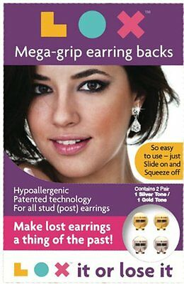 LOX Megagrip Locking Earring Backs 2 Sets (1 Gold & 1 Silver) Hypoallergenic