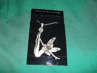 Gallo Pewter Sculptures Fairy Necklace w/Jewels