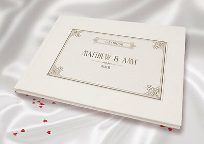 Personalised A5 White Linen Finish Wedding Guest Book -Vintage Brown Letterpress