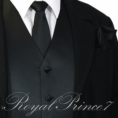 Black XS - 6XL Solid Vest Waistcoat and Neck Tie SET Suit or Tuxedo Formal Prom
