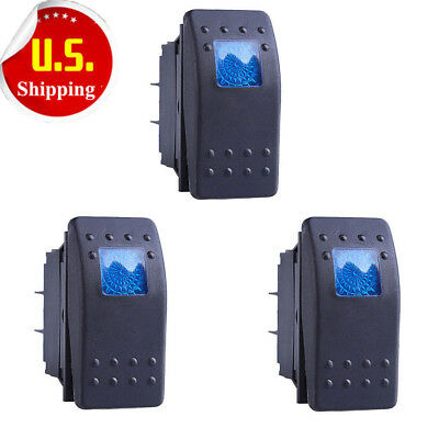HOTSYSTEM 3x Waterproof MARINE BOAT CAR Rocker Switch 12V SPDT ON-OFF 4 PIN Blue