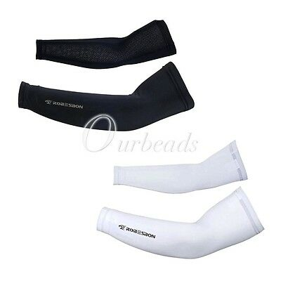 1Pair Cycling Sun UV-Protection Sleeve Cuff Bicycle Arm Warmers White Black