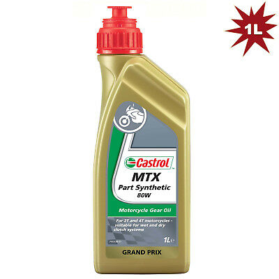 Castrol MTX SAE 80w Part Synthetic Motorcycle Gear Oil -1 Litre