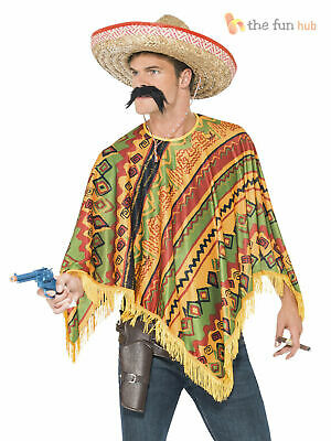 Mexican Poncho Mexico Fancy Dress Bandit Cowboy Stag Do Outfit + Moustache