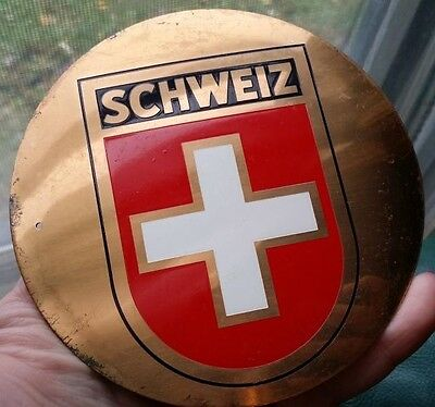 "Vintage Metal ""SCHWEIZ"" Swiss 4 1/2"" Plaque Switzerland"