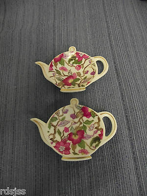 Lot of  2 LEFTON CHINA Hand Painted Teapot Shaped Tea Bag Holders Plate 6672