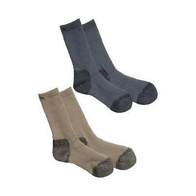 Kathmandu Mens Antibacterial Wool / Acrylic Outdoor Thermal Socks 2PK Beige Grey