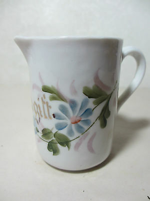 Vintage Foragitt German Porcelain Pitcher Hand Painted Flowers 3 Inches Tall