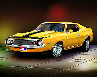 AMC Javelin Amx 1971-1973 car print - poster by artist Danny Whitfield