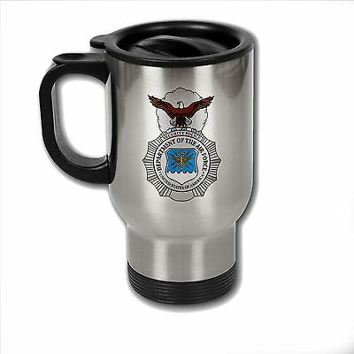 Stainless Steel Mug with U.S. Air Force Security Forces (AFSC) badge