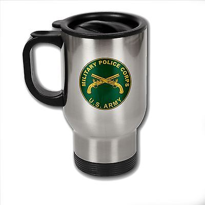 Stainless Steel Mug with U.S. Army Military Police Corps branch plaque