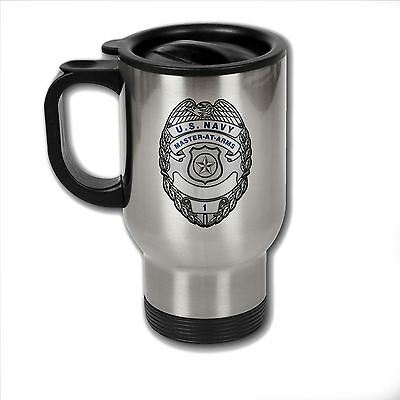 Stainless Steel Mug with U.S. Navy Master-at-Arms badge