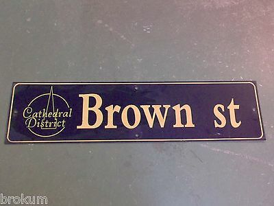 "Vintage BROWN ST Cathedral District Street Sign 36"" X 9"" - GOLD on NAVY Ground"